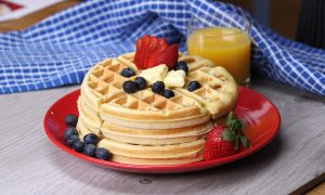 Canva Waffle With Strawberry